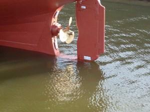 Schroefreflectie in het water. Het zal wel weer even duren voordat we dit weer zien